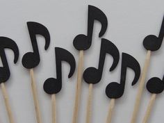 24 Black Music Note Party Picks  Cupcake by SewPrettyInVermont, $3.99