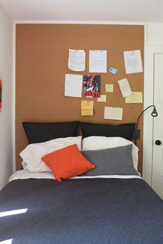 JAKE?  hmmmm... West Elm bed / bulletin board headboard / no side table
