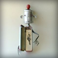 Not only to I love this guy . . . I need this guy . . . Mr Responsible - Robot Art Assemblage Key holder- Recycled Art by Donna Provo Leuck