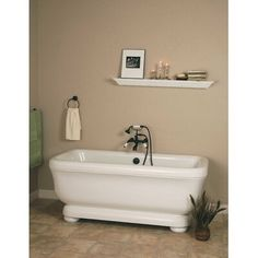 Strom Plumbing Windemere 70 Inch Acrylic Double Ended Pedestal Tub with Drain - No Faucet Drillings Soaker Tub Free Standing, Best Bathroom Paint Colors, Tiny Powder Rooms, Pedestal Tub, Acrylic Tub, Soaking Bathtubs, Whirlpool Bathtub, Luxury Bath, Bath Vanities