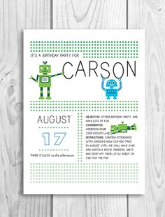 Cute robots! Boy birthday invite