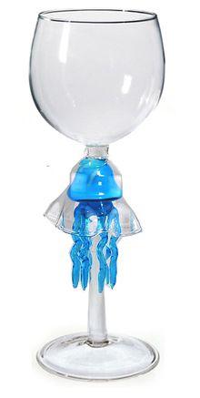 Turquoise Jellyfish Wine Glass, hand blown glass.    www.kathysholiday.com