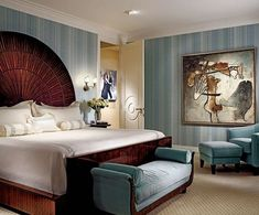 Art Deco Bedroom Decorated With Stripes Wallpaper And Furnished Bed Frame Featured Curve Headboard Using Bench Glamorous Style