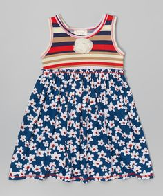 Look what I found on #zulily! Red & Navy Floral Dress - Toddler & Girls by Pink Vanilla #zulilyfinds