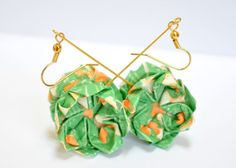 Green Origami Lotus Earrings Folded Paper Flower by JustFolds, $11.00