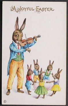 Fantasy Dressed Papa Rabbit Plays the Fiddle for His Little Bunny Family Easter #Easter
