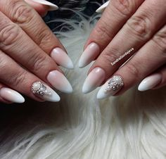 ombre gel nails .pearls and rhinestones decorations