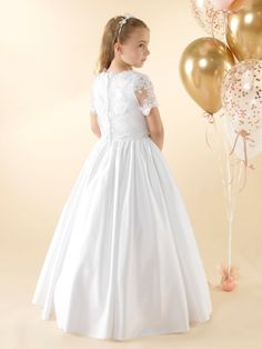 LWCD41 Communion Dress Holy Communion Dresses, First Holy Communion, Girls Dresses, Flower Girl Dresses, Lace Button, Satin Gown, Little White, Bodice, Gowns