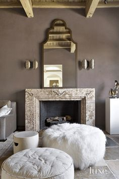 Transitional Cream Foyer with Cowhide Stools - Luxe Interiors + Design Taupe Rooms, Taupe Bedroom, Taupe Walls, Bedroom Colors, Bedroom Ideas, Dark Walls, Master Bedroom, Bedroom Decor, Sherwin Williams Poised Taupe