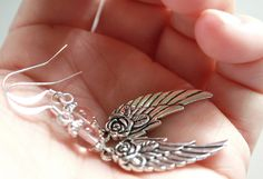 Angel Wing Charm Rose Quartz / Amethyst Earrings by myVardo