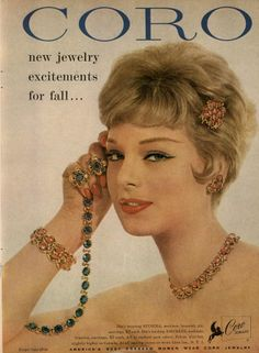 Coro Ad Campaign 1958 - MyFDB not excited about jewelry, but LOVE that eye makeup