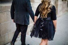 couple walking away in black suit and tulle skirt Couples Walking, Vancouver Wedding Photographer, Black Suits, Engagement Photos, Tulle, Classy, Skirts, Handmade, Fashion