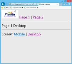 Displaying mobile friendly page without changing the URL in ASP.NET with C# (NO CSS) - DotNetFunda.com