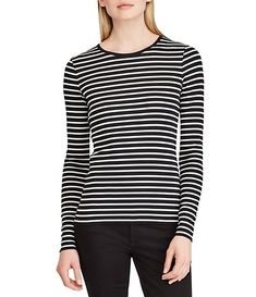 41e09381 Lauren Ralph Lauren Striped Cotton Long Sleeve T-Shirt Dressy Tops,  Dillards, Camisole