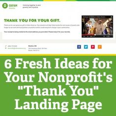 "Nonprofit Tech for Good: 6 Fresh Ideas for Your Nonprofit's ""Thank You"" Landing Page Fundraising Activities, Nonprofit Fundraising, Fundraising Games, Fundraisers, Volunteer Management, Grant Writing, Non Profit, How To Raise Money, Charity"