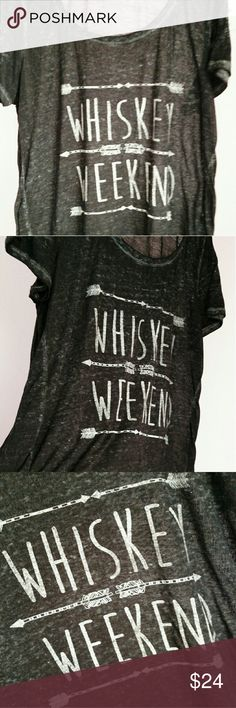 """🍷Maurice's """"Whiskey Weekend"""" Fun Tee Shirt🍷 Maurice's Brand Sheer Distressed Look """"Whiskey Weekend"""" Short Sleeve Tee Shirt. This Is A Great Tee To Wear To A Fun Party Or To Just Wear Around The House With Friends! Excellent Condition! Never Worn. 55% Polyester 31% Cotton 14% Rayon Fast Shipping! Thank You For Stopping By And Please Check Out My Other Listings! Maurices Tops Tees - Short Sleeve"""