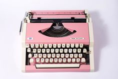 Vintage Typewriter, Pink UNIS tbm Olympia Traveller De Luxe -Valentine's day gift, Portable Manual typewriter - WORKING with new ribbon