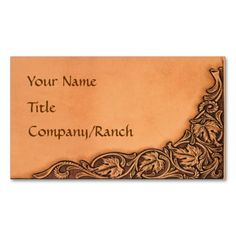 A truly unique business card perfect for the cowboy or ranch owner or anyone who loves the western look.