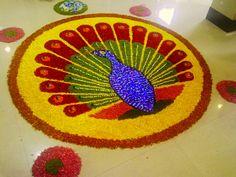 Rangoli Designs Flower, Flower Rangoli, Beautiful Rangoli Designs, Flower Designs, Onam Pookalam Design, Diwali Rangoli, Flower Decorations, Kerala, Random