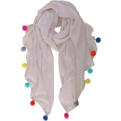 Humble Chic NY Pom Pom Scarf ($24) ❤ liked on Polyvore featuring accessories, scarves, sand, cotton scarves, multi colored scarves, lightweight scarves, colorful shawl and cotton shawl