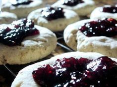 Shortbread cookies are re-imagined into gluten-free thumbprint cookies with jam and cookie mix.