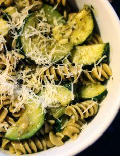 basil lemon pesto pasta with zucchini FoodBlogs.com