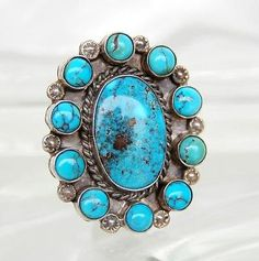 Rare Vtg Navajo Huge Old Bisbee Turquoise Large Sterling Cluster Ring Size 8 in Jewelry & Watches, Ethnic, Regional & Tribal, Native American, Rings | eBay