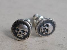 skull earrings  skull studs  skull wax seal earrings