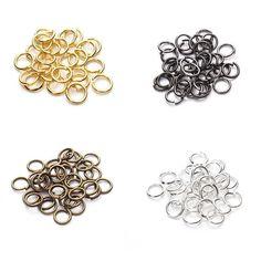 Mosquetón con spaltring collar DIY cadenas cierre de acero inoxidable plateados negro