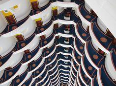 An artistic atrium view at the Burj Al Arab hotel.
