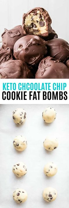 Keto Chocolate Chip Cookie Fat Bombs are a perfect low carb, keto friendly dessert! Dipped in sugar-free chocolate, you'll love indulging in this treat! Add a tbsp of peanut butter. Gluten Free Chocolate Chip Cookies, Keto Chocolate Chips, Keto Cookies, Chocolate Desserts, Keto Friendly Desserts, Low Carb Desserts, Low Carb Recipes, Dessert Recipes, Healthy Work Snacks