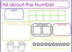 Here's a flipchart file designed to focus on the numbers 0-10. These fill-in-the-blank slides include spaces to record the number, number word, tally marks, dice dot patterns, ten frame, ordinal numbers, finger counting, and an addition problem.