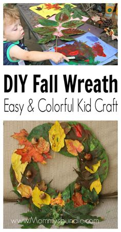 Colorful Fall Wreath - Let the kid's help decorate for Fall with this easy leaf and paint craft! We LOVE how festive ours feels!
