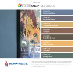 I found these colors with ColorSnap® Visualizer for iPhone by Sherwin-Williams: Searching Blue (SW 6536), Exclusive Plum (SW 6263), Tarnished Trumpet (SW 9026), Tanbark (SW 6061), Suitable Brown (SW 7054), Olden Amber (SW 9013), Yearling (SW 7725), Rocky River (SW 6215).