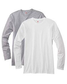Hanes mens 4.5 oz. 100% Ringspun Cotton nano-T Long-Sleeve T-Shirt(498L)-LIGHT STEEL/WHITE-M - http://www.darrenblogs.com/2016/12/hanes-mens-4-5-oz-100-ringspun-cotton-nano-t-long-sleeve-t-shirt498l-light-steelwhite-m/