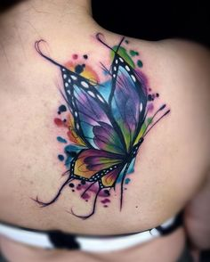 Colortattoo watercolor butterfly tattoo, butterfly back tattoo, dragonfly t Watercolor Butterfly Tattoo, Colorful Butterfly Tattoo, Butterfly Tattoo Designs, Watercolor Tattoos, Butterfly Shoulder Tattoo, Realistic Butterfly Tattoo, Butterfly Tattoo Cover Up, Cover Up Tattoos, Body Art Tattoos