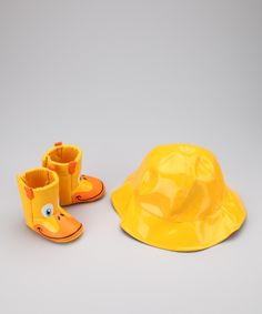 love this rain gear! Yellow Duck Rain Boot  amp  Hat Set zulily (baby fcd04071cef