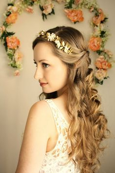 gold leaf bridal crown - Google Search