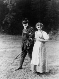 Sigmund Freud and his lovely and gifted daughter Anna (Dec. 3, 1895 - 1982)  Photo actually taken in the Italian Dolomites in 1913…