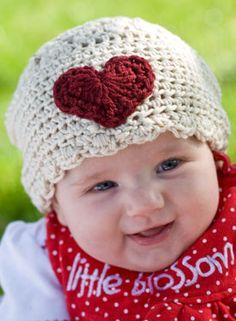 sweet-heart crocheted hat... must. learn.