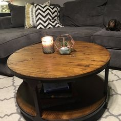 Carolyn Coffee Table with Storage Wooden Spool Tables, Round Wooden Coffee Table, Wooden Spools, Round End Tables, Coffee And End Tables, Coffee Table With Storage, Fine Furniture, Wooden Furniture, Industrial Design Furniture