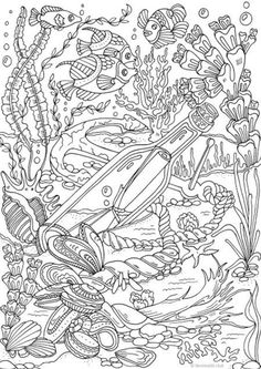 Message - Printable Adult Coloring Page from Favoreads (Coloring book pages for adults and kids, Coloring sheets, Coloring designs) Ocean Coloring Pages, Dinosaur Coloring Pages, Adult Coloring Book Pages, Printable Adult Coloring Pages, Coloring Pages For Kids, Coloring Sheets, Coloring Books, Kids Coloring, Mandala Coloring