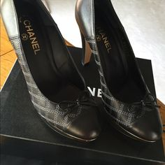CHANEL❤️🌟 Diamond-Quilted Pumps Classic Chanel Diamond-Quilted Leather Pumps with bow and stunning gold accents! Shiny gold CC's on back side and shiny gold accents near sole. Comes with original Chanel Box and Dustbag. CHANEL Shoes Heels