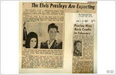 These articles from Las Vegas and Pittsburgh newspapers in 1967 announce that the Presleys are expecting a baby. Notice how both papers misspelled Priscilla's name. Elvis And Priscilla, Elvis Presley, Elvis Cd, Elvis Collectors, Elvis Memorabilia, Daily Papers, Expecting Baby, Graceland, Newspaper