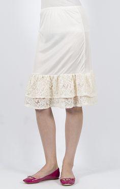 Downeast Basics - Fun and Flirty Skirt Extender Slip in Ivory