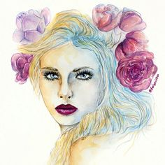 Drawing of a beautiful Lady with flowers in her hair and dark lips