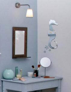 sea horse mirror sticker on the wall for modern bathroom decorating ideas