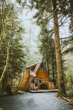 Orange A Frame Cabin.