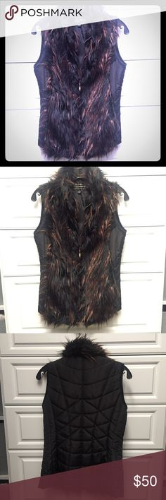Faux Fur Vest with Quilted Back Great mix of black and brown faux fur in front and quilted nylon sides and back. Pockets too! Montanaco Jackets & Coats Vests