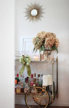 Our Holiday Décor Revealed- Holiday bar cart